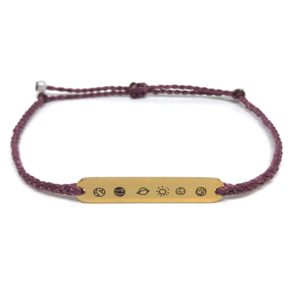 image of galaxy mauve bracelet with gold plated bar charm