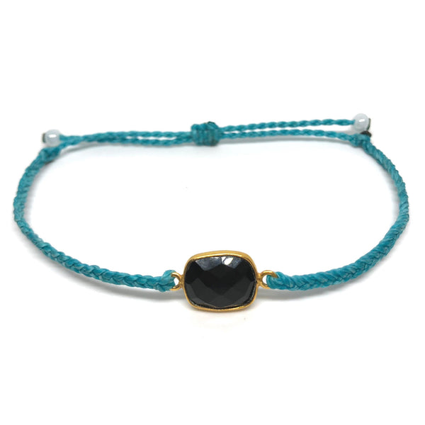 image of Black Onyx gemstone bracelet turquoise