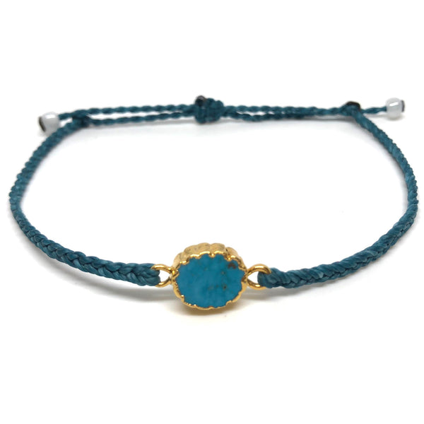 image of Electroplated Turquoise gemstone bracelet teal