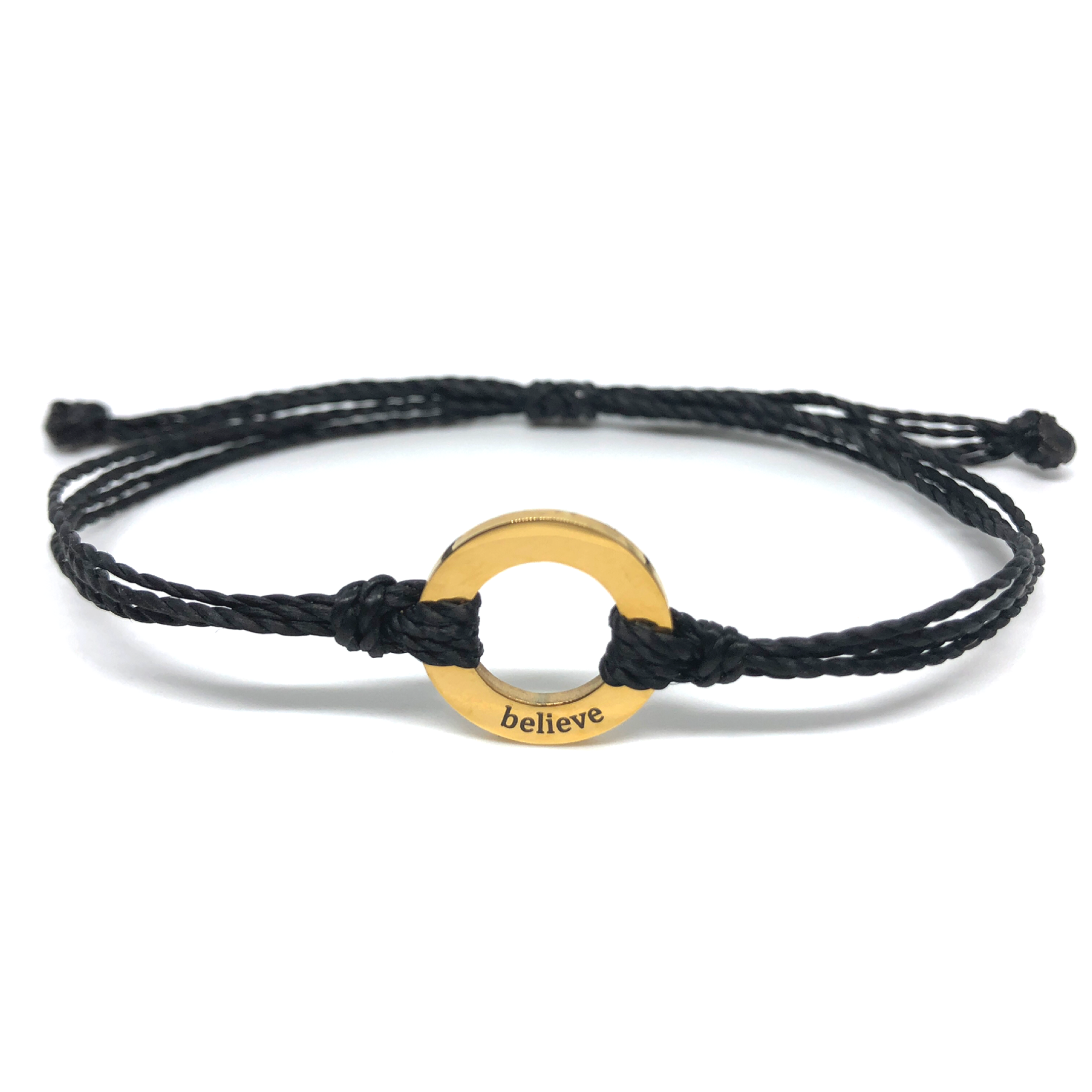 image of Believe black bracelet with gold plated circle charm