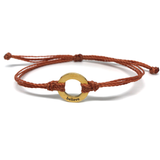 image of Believe burnt orange bracelet with gold plated circle charm