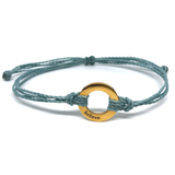 image of Believe steel blue bracelet with gold plated circle charm