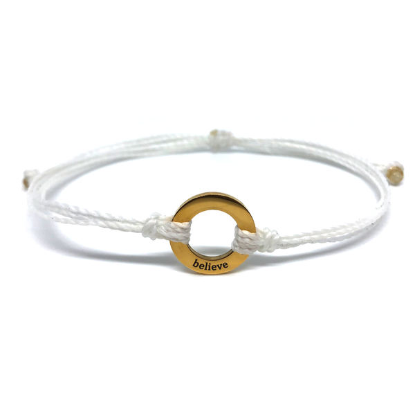 image of Believe white bracelet with gold plated circle charm