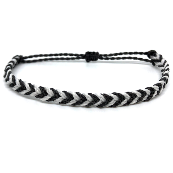 Single Bracelet - Fishtail Braid - Gatsby black white.