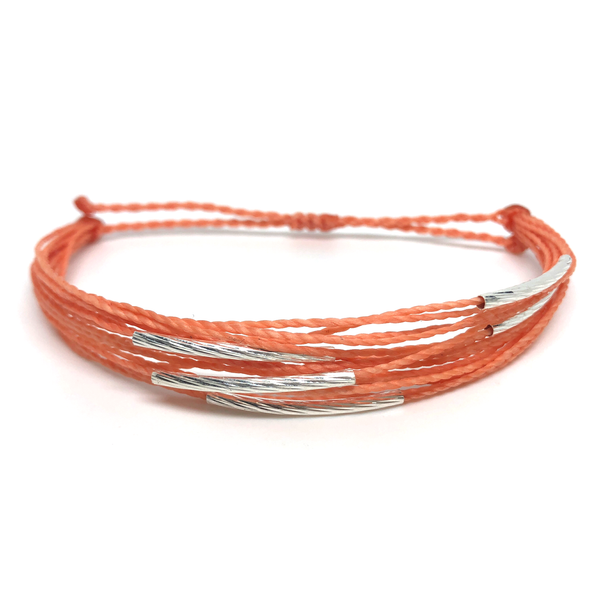 "image of multilayer bracelet ""silver lining"" coral"