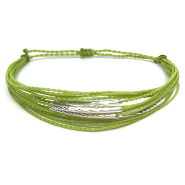 "image of multilayer bracelet ""silver lining"" lime green"