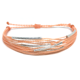 "image of multilayer bracelet ""silver lining"" peach"