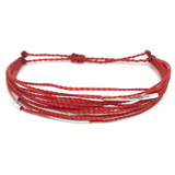 "image of multilayer bracelet ""silver lining"" red"