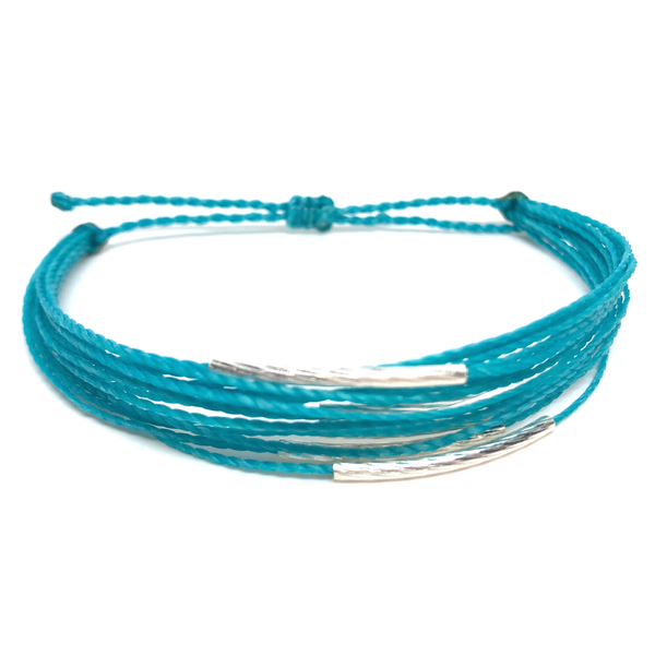 "image of multilayer bracelet ""silver lining"" turquoise"
