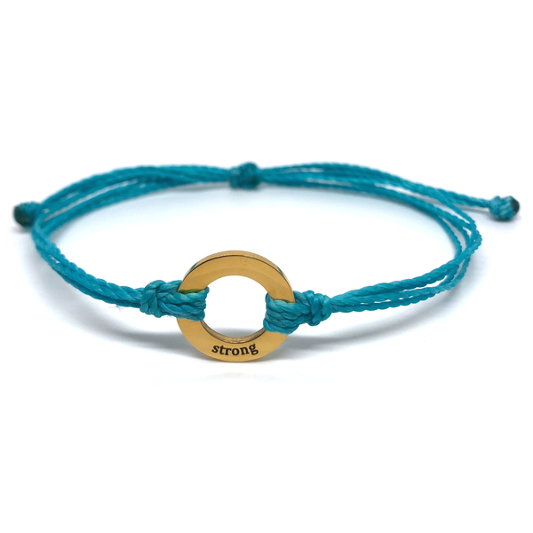 Strong - Circle Charm Bracelet - Turquoise