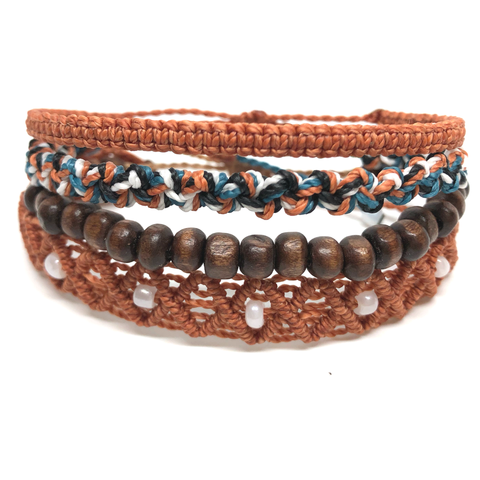 image of Kaiser multi-layer bracelet set 4 layers burnt orange