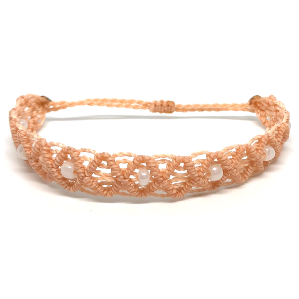Non Charm Bracelet - Macrame - Beaded Criss-cross - Peach