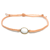 image of White Agate gemstone bracelet peach