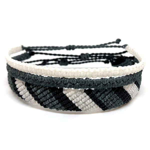 image of Gray Scale multi-layer bracelet set 3 layers
