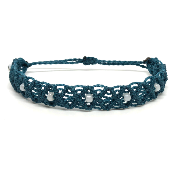 Non Charm Bracelet - Macrame - Beaded Criss-cross - Teal