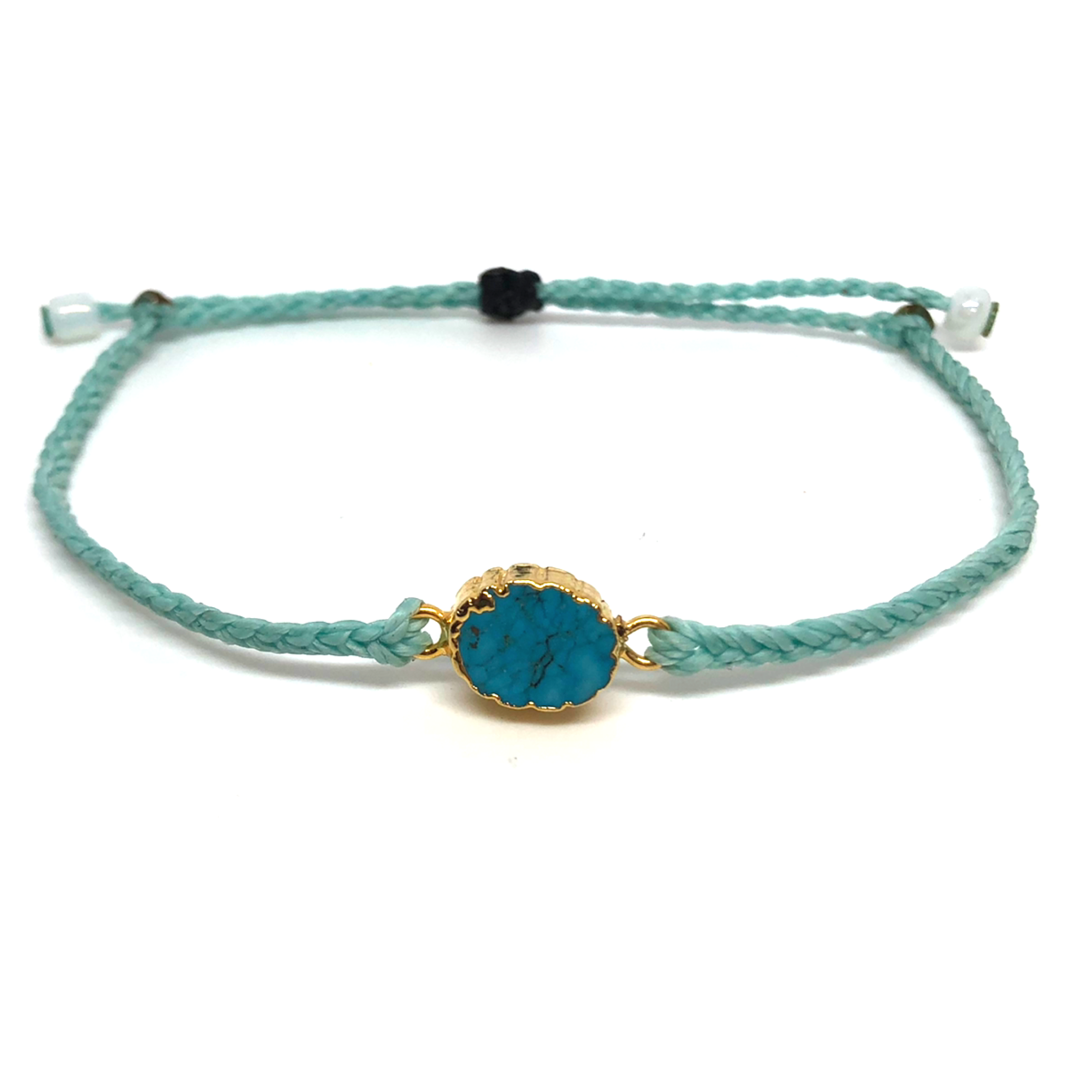 image of Electroplated Turquoise gemstone bracelet mint