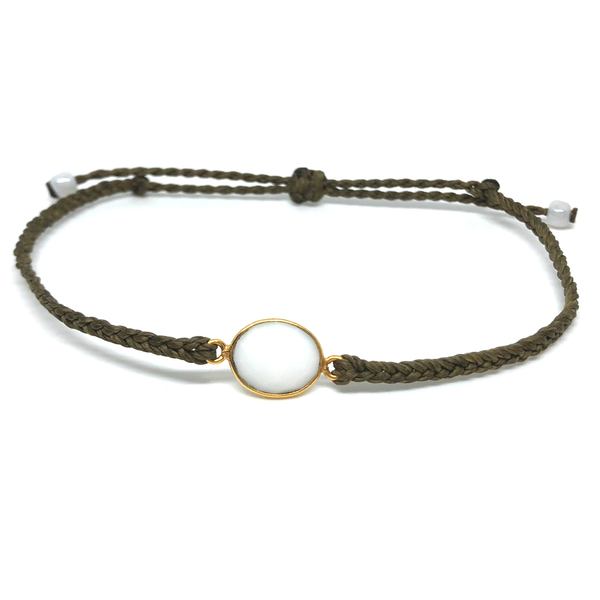 image of White Agate gemstone bracelet olive green
