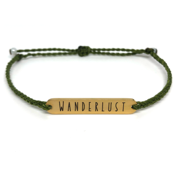image of wanderlust olive green bracelet with gold plated bar charm