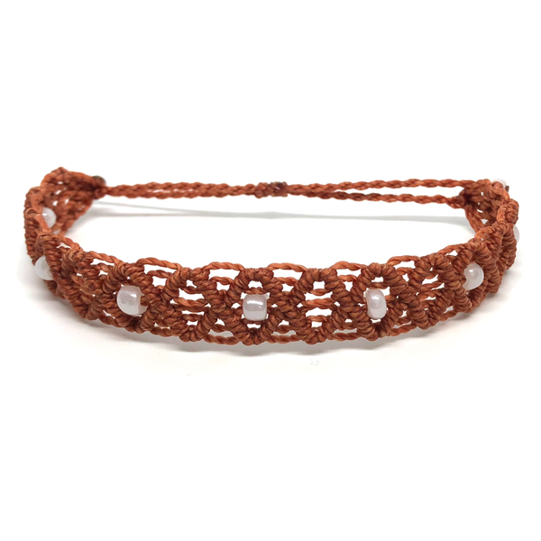 Non Charm Bracelet - Macrame - Beaded Criss-cross - Burnt Orange