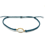 image of White Agate gemstone bracelet teal