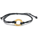 image of Warrior black bracelet with gold plated circle charm