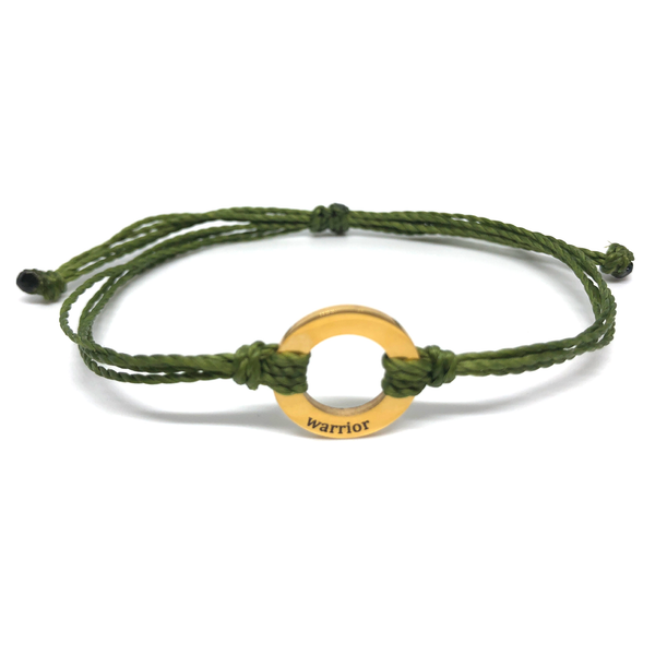 image of Warrior hunter green bracelet with gold plated circle charm