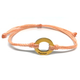 image of Warrior peach bracelet with gold plated circle charm