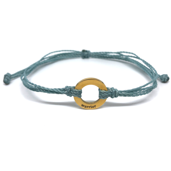 image of Warrior steel blue bracelet with gold plated circle charm