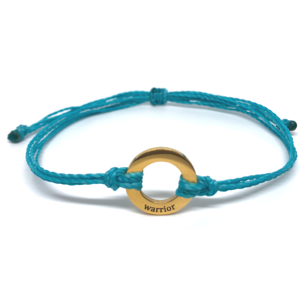 image of Warrior turquoise bracelet with gold plated circle charm
