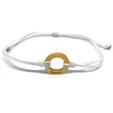 image of Warrior white bracelet with gold plated circle charm