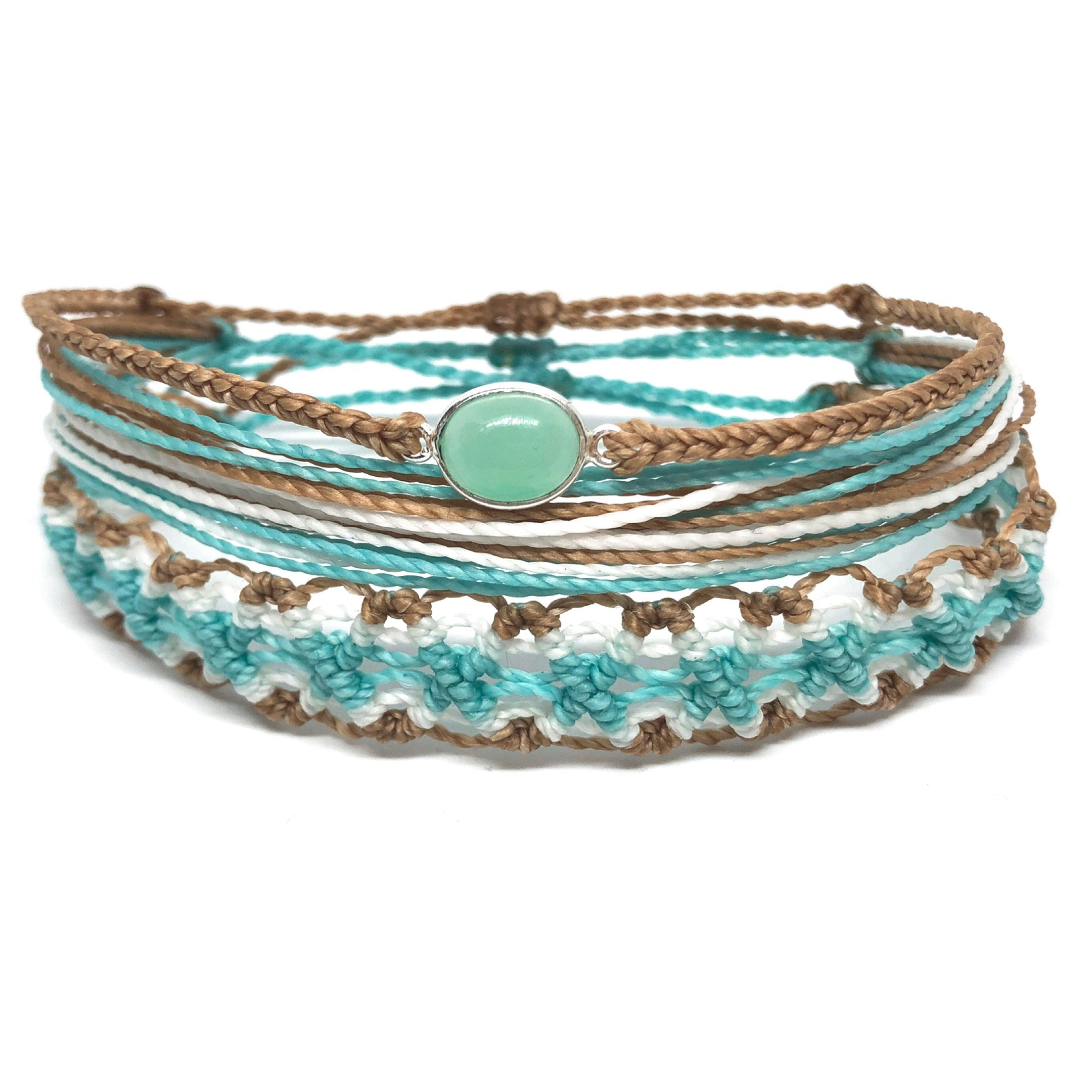 image of Sandy Shore gemstone bracelet set 3 layers mint, tan, and white
