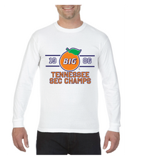 Load image into Gallery viewer, white long sleeve shirt with a large orange saying big in the middle of it and 1986 flanking the sides, below is Tennessee SEC Champs, TriStar Tees