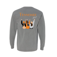 Load image into Gallery viewer, Tennessee girl t-shirt with three girls dressed in Tennessee game day attire cheering on the back long sleeve TriStar Tees