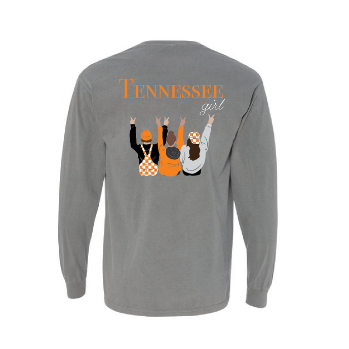 Tennessee girl t-shirt with three girls dressed in Tennessee game day attire cheering on the back long sleeve TriStar Tees