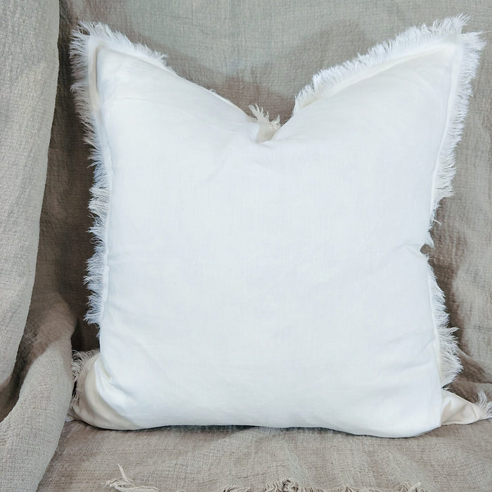 White Hazelhurst French Linen Fringed Cushion