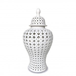 46cm White Hampton Lace Jar