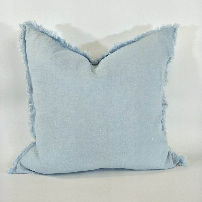 Ice Blue Hazelhurst French Linen Fringe Cushion