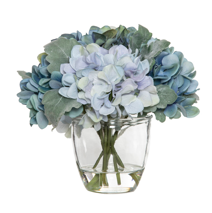 Hydrangea bouquet glass pot
