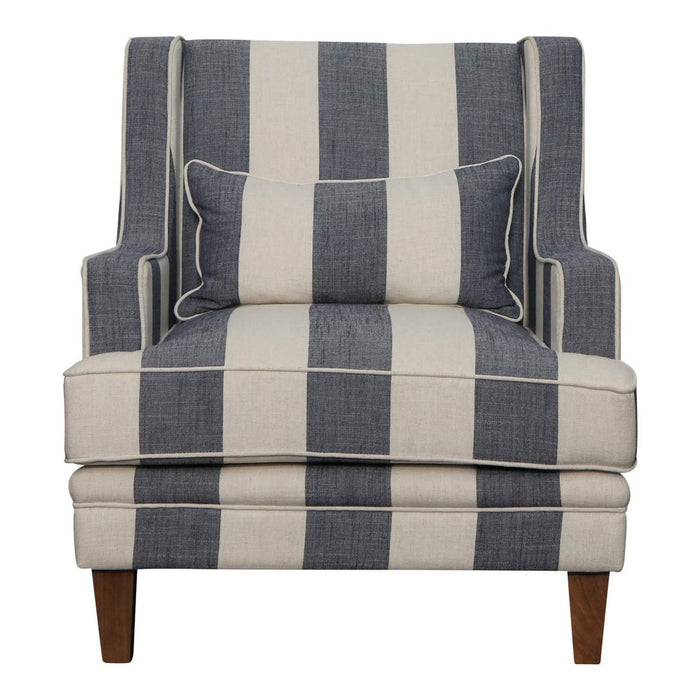 BONDI DENIM & CREAM STRIPE ARMCHAIR