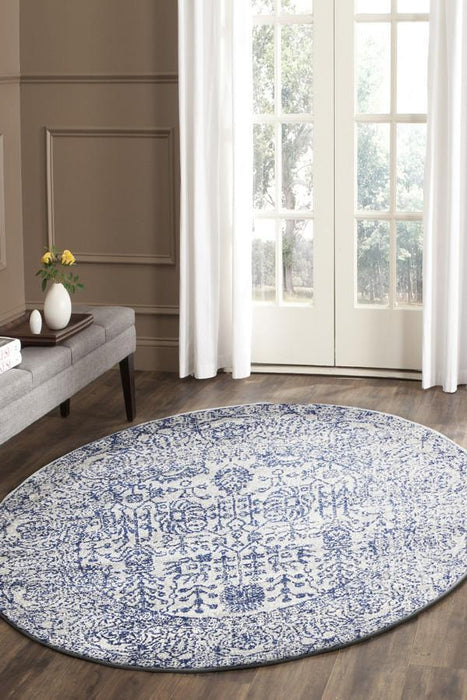 Evoke Frost Blue Transitional Round Rug