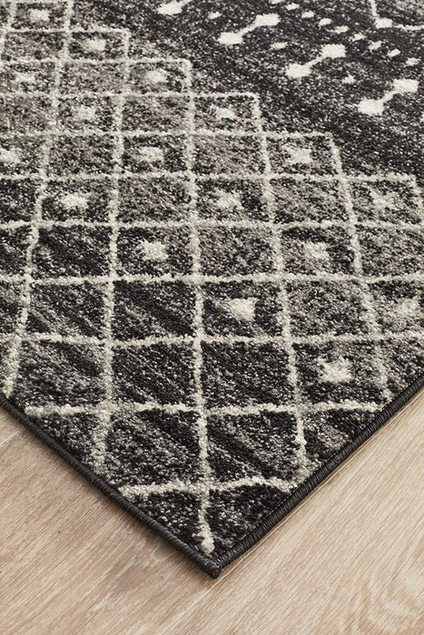 Evoke Simplicity Black Transitional Runner Rug