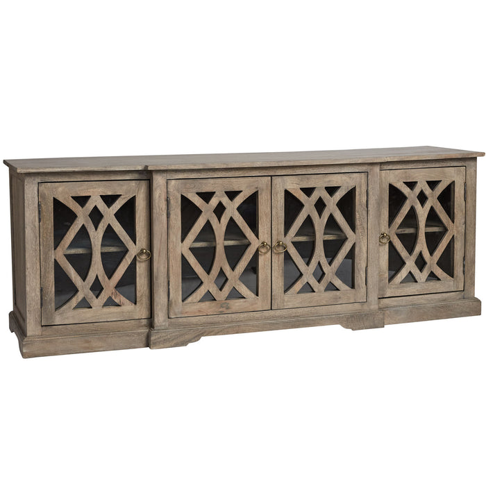 Boston entertainment unit antiqued natural