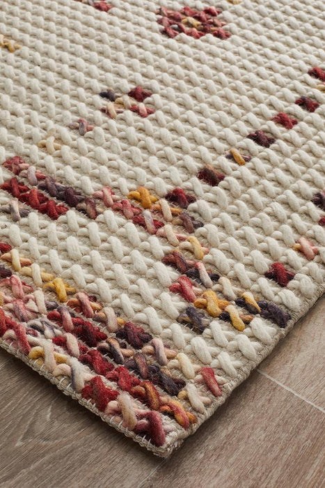 Rhea Cross Stitch Rug Rust Burgandy