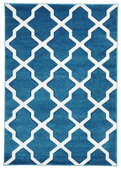 Icon Cross Hatch Modern Rug Blue