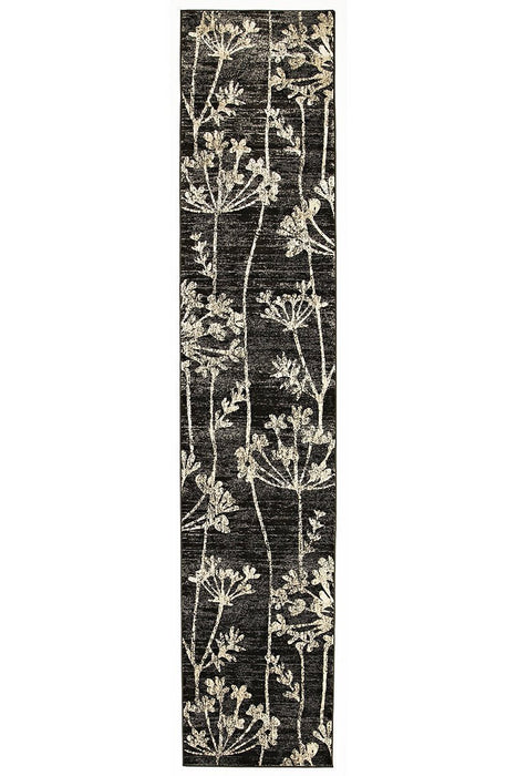 Mystique Collection Delicate Floral Pattered Rug Grey