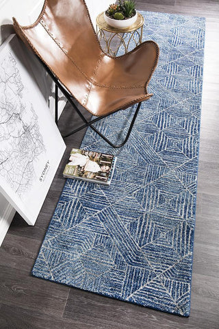 Oasis Kenza Contemporary Navy Runner Rug