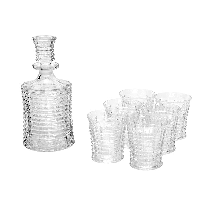 Ribbed Decanter and Tumbler Set