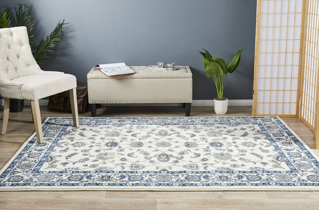 Sydney Collection Classic Rug White with White Border