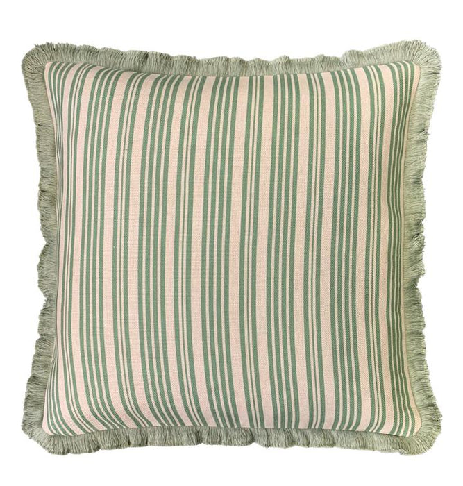 Green Stripe with Fringe Cushion