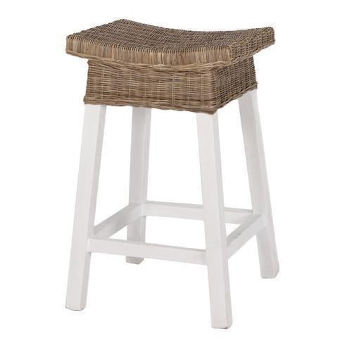 White Wood & Rattan Bar Stool
